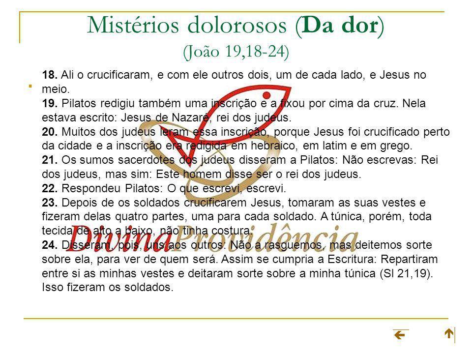 Mistérios dolorosos (Da dor) (João 19,18-24) 18. Ali o crucificaram, e com ele outros dois, um de cada lado, e Jesus no meio. 19. Pilatos redigiu tamb