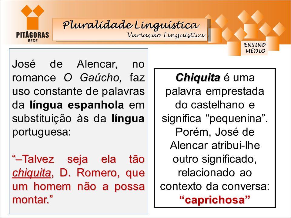 ENSINO Pluralidade Linguística Variação Linguistica Pluralidade Linguística Variação Linguistica José de Alencar, no romance O Gaúcho, faz uso constan
