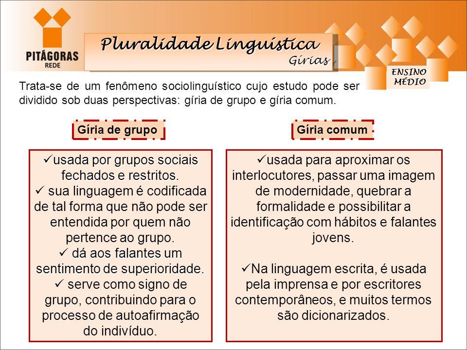 ENSINO MÉDIO MÉDIO Trata-se de um fenômeno sociolinguístico cujo estudo pode ser dividido sob duas perspectivas: gíria de grupo e gíria comum. Gíria d