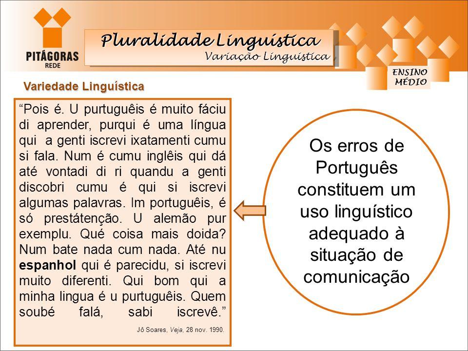 A língua varia de região para região, de grupo social para grupo social, de uma época para outra, de uma situação de comunicação para outra.