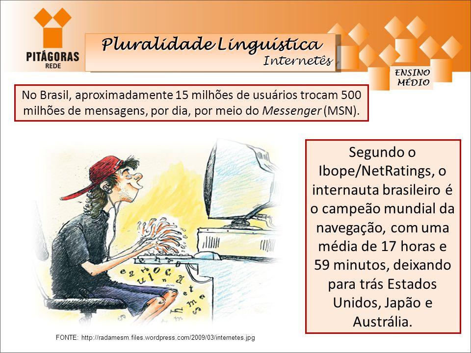 ENSINO MÉDIO MÉDIO Pluralidade Linguística Internetês Internetês No Brasil, aproximadamente 15 milhões de usuários trocam 500 milhões de mensagens, po