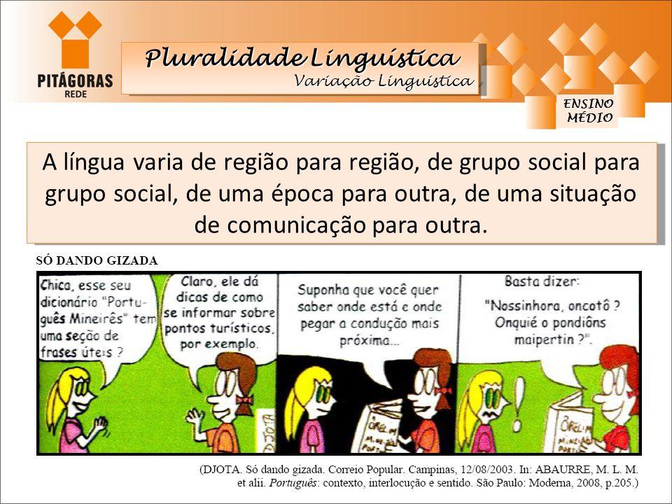 A língua varia de região para região, de grupo social para grupo social, de uma época para outra, de uma situação de comunicação para outra. ENSINO MÉ