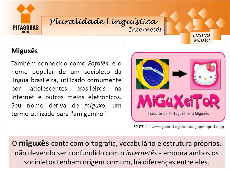 Miguxês Também conhecido como Fofolês, é o nome popular de um socioleto da língua brasileira, utilizado comumente por adolescentes brasileiros na Inte