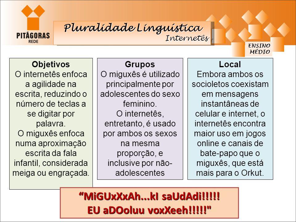 ENSINO MÉDIO MÉDIO Pluralidade Linguística Internetês Internetês Objetivos O internetês enfoca a agilidade na escrita, reduzindo o número de teclas a