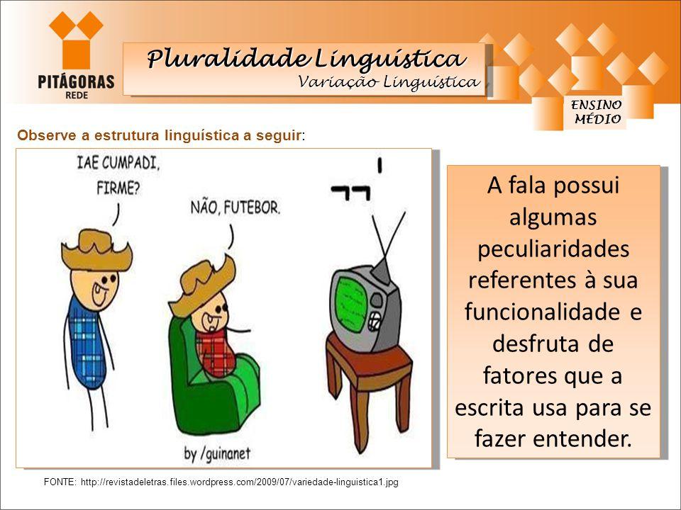 ENSINO MÉDIO MÉDIO FONTE: http://revistadeletras.files.wordpress.com/2009/07/variedade-linguistica1.jpg Observe a estrutura linguística a seguir: A fa