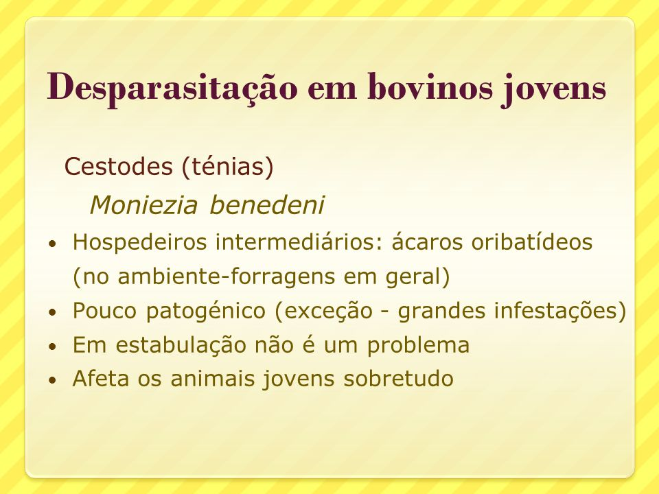 Cestodes (ténias) Moniezia benedeni Hospedeiros intermediários: ácaros oribatídeos (no ambiente-forragens em geral) Pouco patogénico (exceção - grande