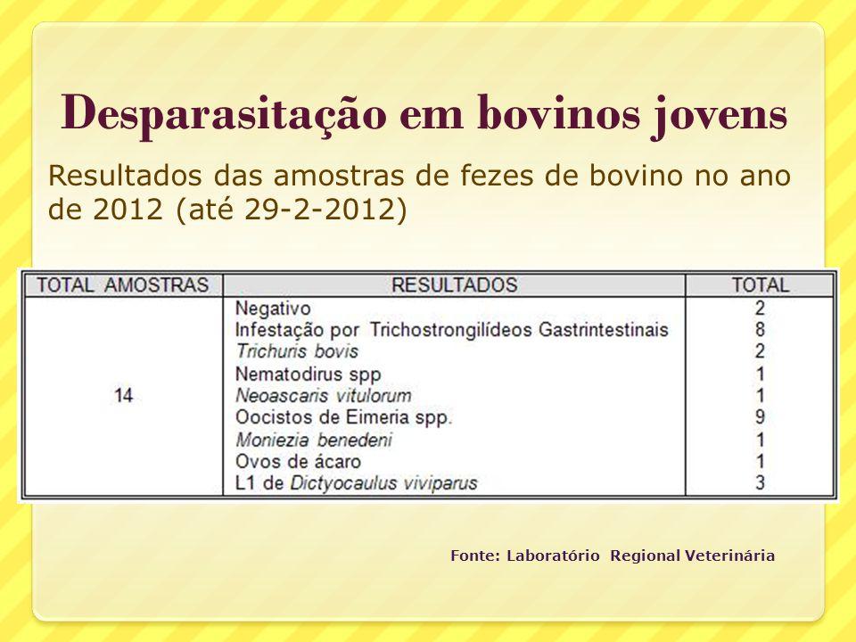 Desparasitação em bovinos jovens Fonte: Laboratório Regional Veterinária Resultados das amostras de fezes de bovino no ano de 2012 (até 29-2-2012)