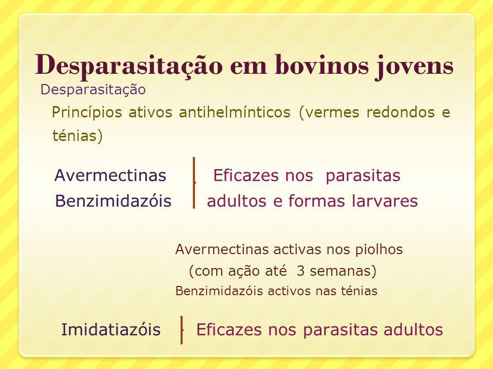 Desparasitação em bovinos jovens Desparasitação Princípios ativos antihelmínticos (vermes redondos e ténias) Avermectinas Eficazes nos parasitas Benzi