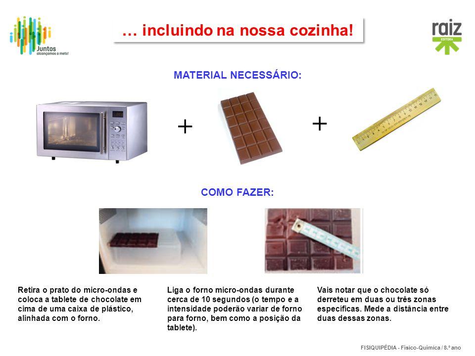 FISIQUIPÉDIA - Físico-Química / 8.º ano MATERIAL NECESSÁRIO: + + … incluindo na nossa cozinha! COMO FAZER: Retira o prato do micro-ondas e coloca a ta