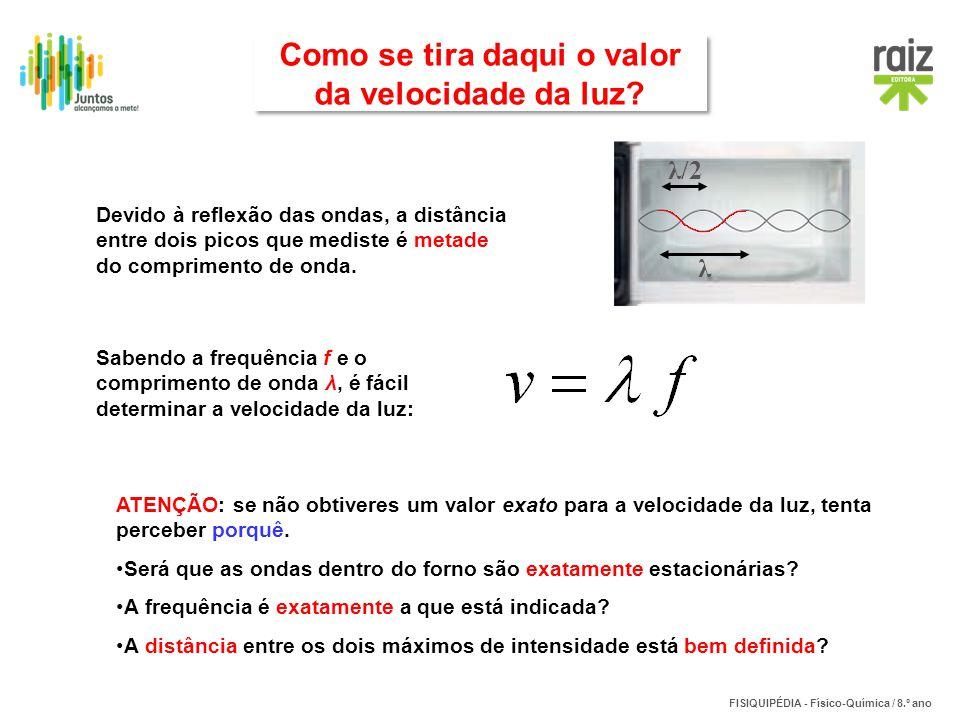 FISIQUIPÉDIA - Físico-Química / 8.º ano Devido à reflexão das ondas, a distância entre dois picos que mediste é metade do comprimento de onda. λ λ/2 S