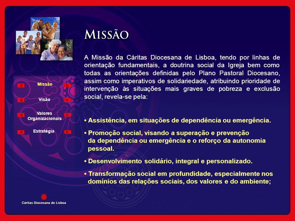 Missão Visão Valores Organizacionais A Missão da Cáritas Diocesana de Lisboa, tendo por linhas de orientação fundamentais, a doutrina social da Igreja