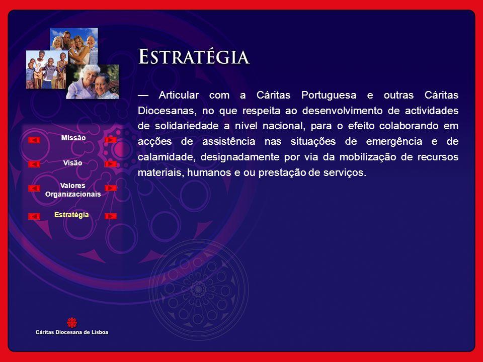 — Articular com a Cáritas Portuguesa e outras Cáritas Diocesanas, no que respeita ao desenvolvimento de actividades de solidariedade a nível nacional,