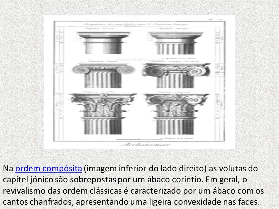 Na ordem compósita (imagem inferior do lado direito) as volutas do capitel jónico são sobrepostas por um ábaco coríntio. Em geral, o revivalismo das o