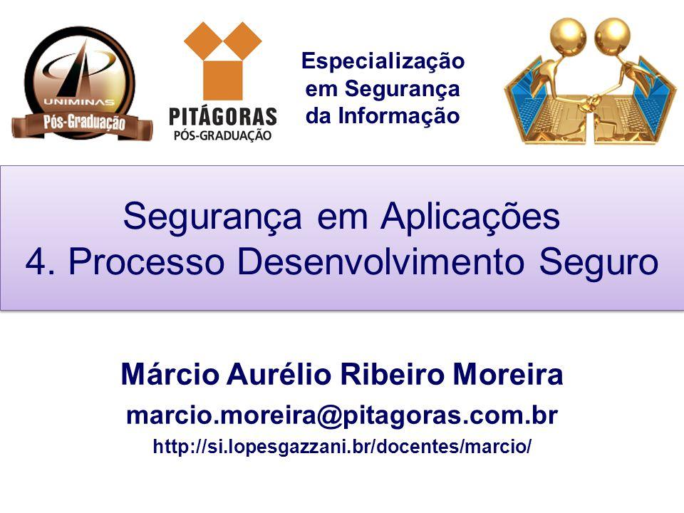 Especialização em Segurança da Informação Segurança em Aplicações 4. Processo Desenvolvimento Seguro Márcio Aurélio Ribeiro Moreira marcio.moreira@pit