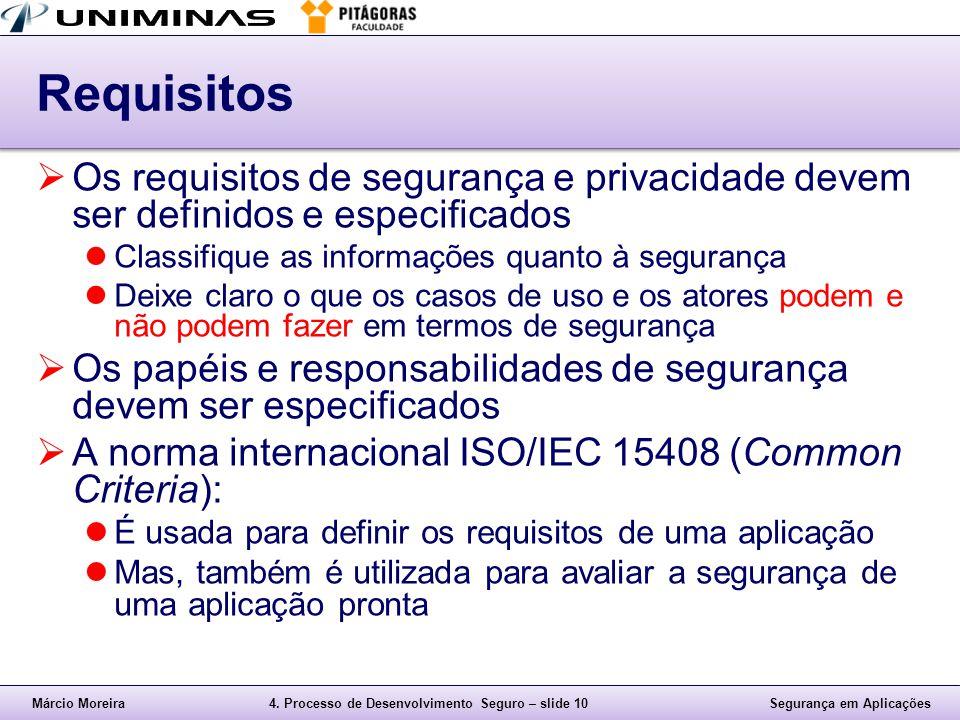 Márcio Moreira4. Processo de Desenvolvimento Seguro – slide 10Segurança em Aplicações Requisitos  Os requisitos de segurança e privacidade devem ser