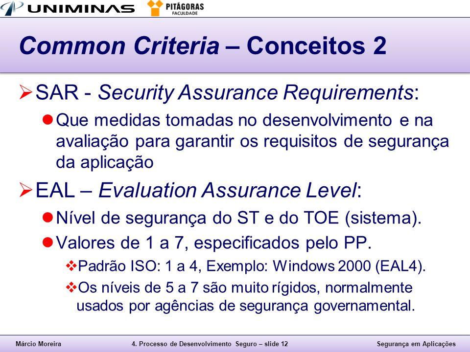 Márcio Moreira4. Processo de Desenvolvimento Seguro – slide 12Segurança em Aplicações Common Criteria – Conceitos 2  SAR - Security Assurance Require