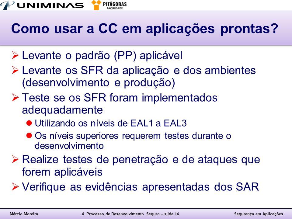 Márcio Moreira4. Processo de Desenvolvimento Seguro – slide 14Segurança em Aplicações Como usar a CC em aplicações prontas?  Levante o padrão (PP) ap