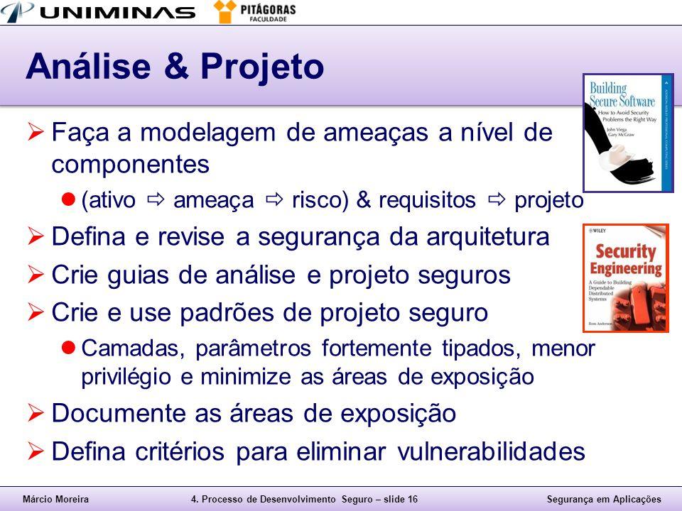 Márcio Moreira4. Processo de Desenvolvimento Seguro – slide 16Segurança em Aplicações Análise & Projeto  Faça a modelagem de ameaças a nível de compo