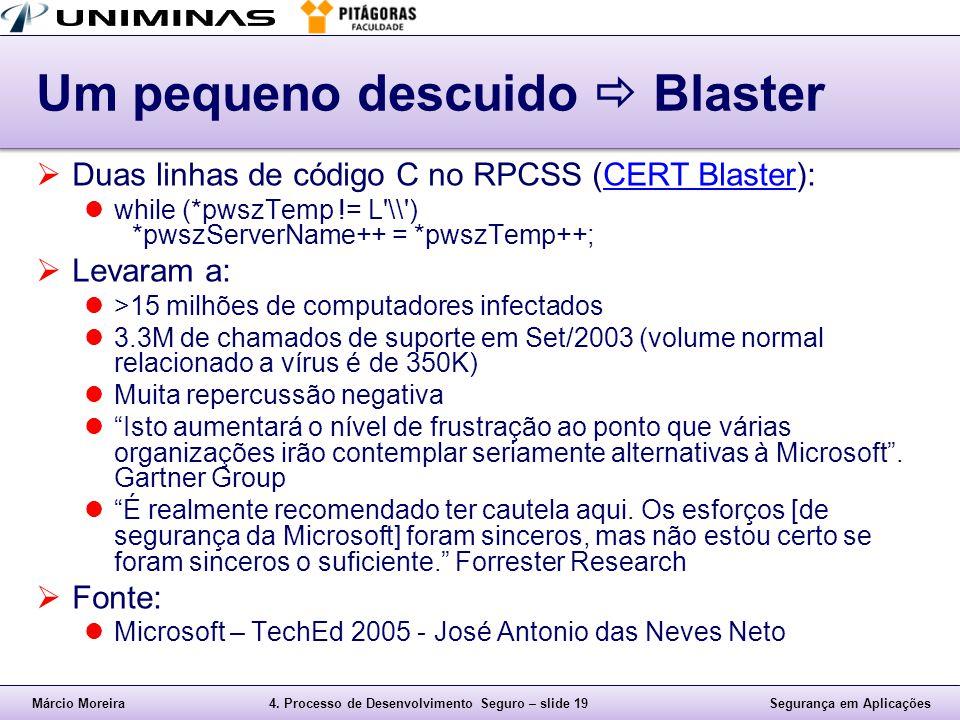Márcio Moreira4. Processo de Desenvolvimento Seguro – slide 19Segurança em Aplicações Um pequeno descuido  Blaster  Duas linhas de código C no RPCSS