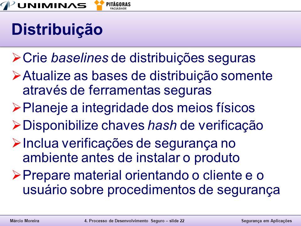 Márcio Moreira4. Processo de Desenvolvimento Seguro – slide 22Segurança em Aplicações Distribuição  Crie baselines de distribuições seguras  Atualiz