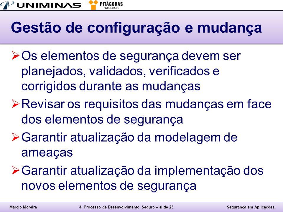 Márcio Moreira4. Processo de Desenvolvimento Seguro – slide 23Segurança em Aplicações Gestão de configuração e mudança  Os elementos de segurança dev