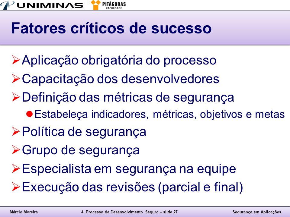 Márcio Moreira4. Processo de Desenvolvimento Seguro – slide 27Segurança em Aplicações Fatores críticos de sucesso  Aplicação obrigatória do processo