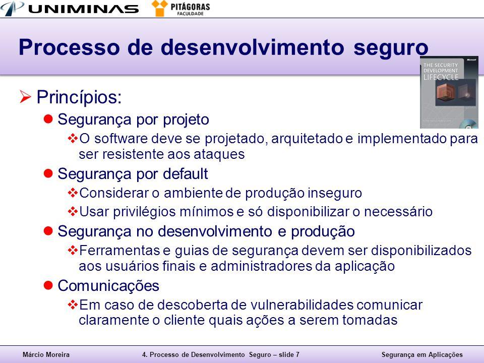 Márcio Moreira4. Processo de Desenvolvimento Seguro – slide 7Segurança em Aplicações Processo de desenvolvimento seguro  Princípios: Segurança por pr