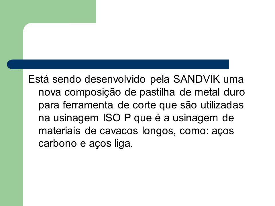 Está sendo desenvolvido pela SANDVIK uma nova composição de pastilha de metal duro para ferramenta de corte que são utilizadas na usinagem ISO P que é