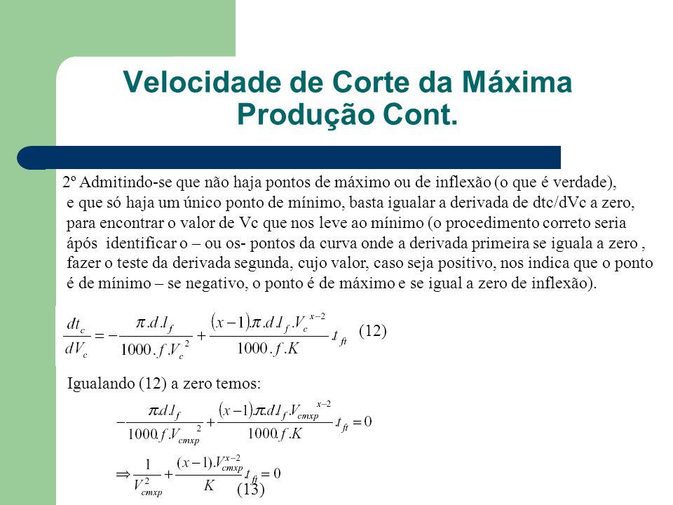2º Admitindo-se que não haja pontos de máximo ou de inflexão (o que é verdade), e que só haja um único ponto de mínimo, basta igualar a derivada de dtc/dVc a zero, para encontrar o valor de Vc que nos leve ao mínimo (o procedimento correto seria ápós identificar o – ou os- pontos da curva onde a derivada primeira se iguala a zero, fazer o teste da derivada segunda, cujo valor, caso seja positivo, nos indica que o ponto é de mínimo – se negativo, o ponto é de máximo e se igual a zero de inflexão).