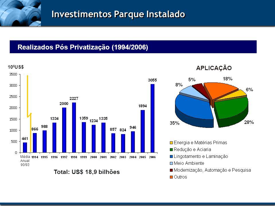 Investimentos Parque Instalado Total: US$ 18,9 bilhões APLICAÇÃO Realizados Pós Privatização (1994/2006) 10 6 US$ Média Anual 90/93
