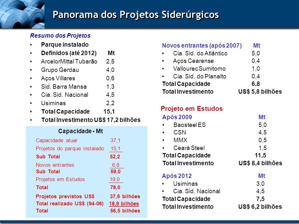 Capacidade - Mt Capacidade atual 37,1 Panorama dos Projetos Siderúrgicos Parque instalado Definidos (até 2012) Mt ArcelorMittal Tubarão2,5 Grupo Gerda