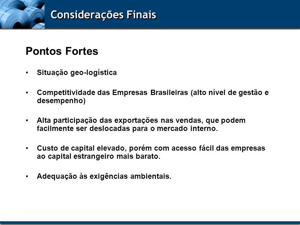 Considerações Finais Pontos Fortes Situação geo-logística Competitividade das Empresas Brasileiras (alto nível de gestão e desempenho) Alta participaç