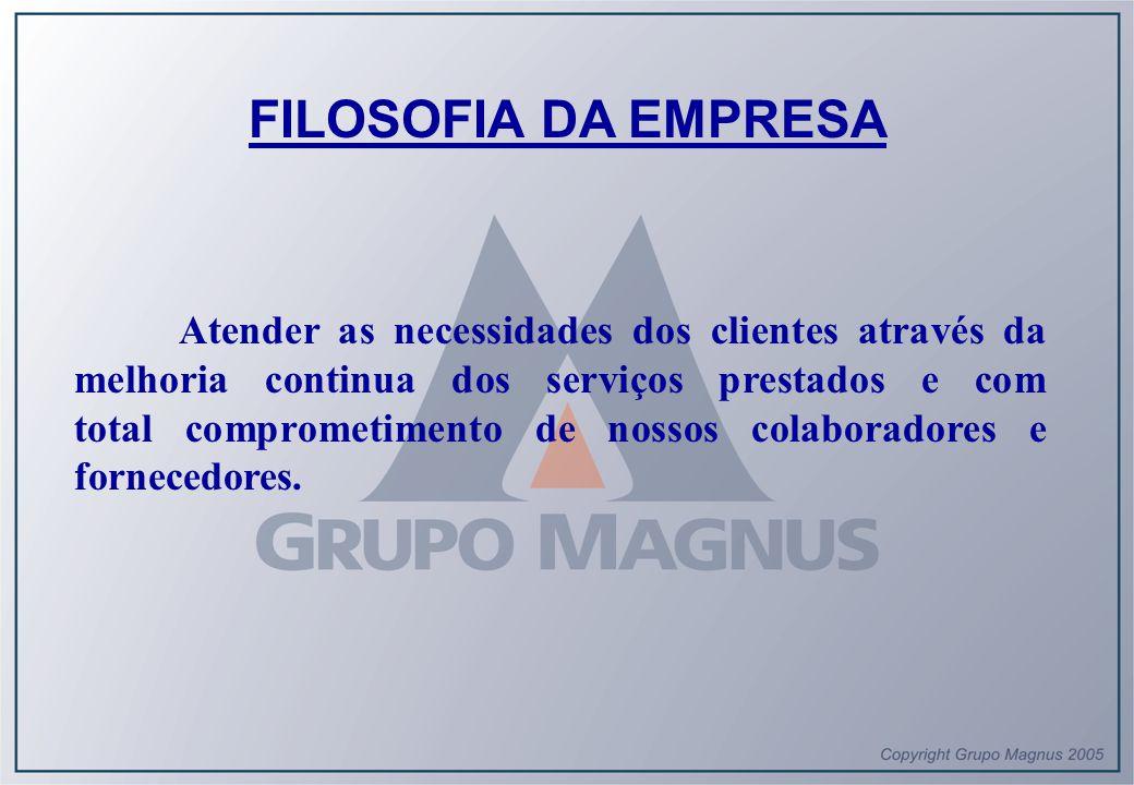 FILOSOFIA DA EMPRESA Atender as necessidades dos clientes através da melhoria continua dos serviços prestados e com total comprometimento de nossos co