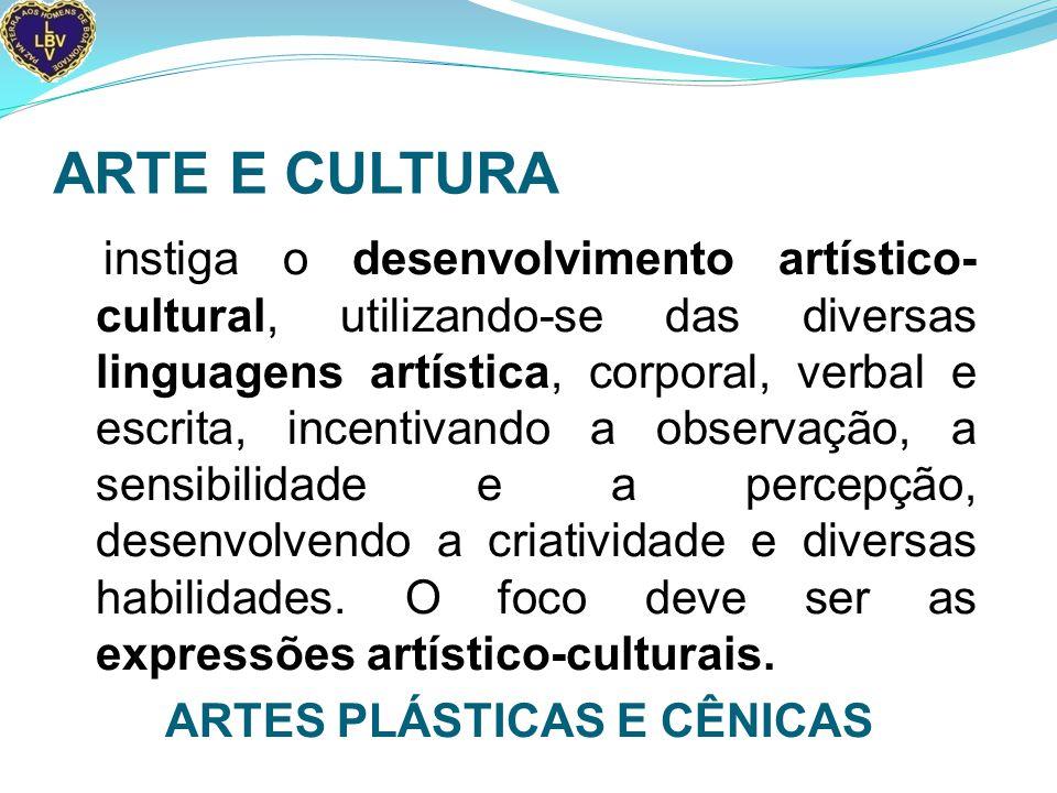ARTE E CULTURA instiga o desenvolvimento artístico- cultural, utilizando-se das diversas linguagens artística, corporal, verbal e escrita, incentivando a observação, a sensibilidade e a percepção, desenvolvendo a criatividade e diversas habilidades.