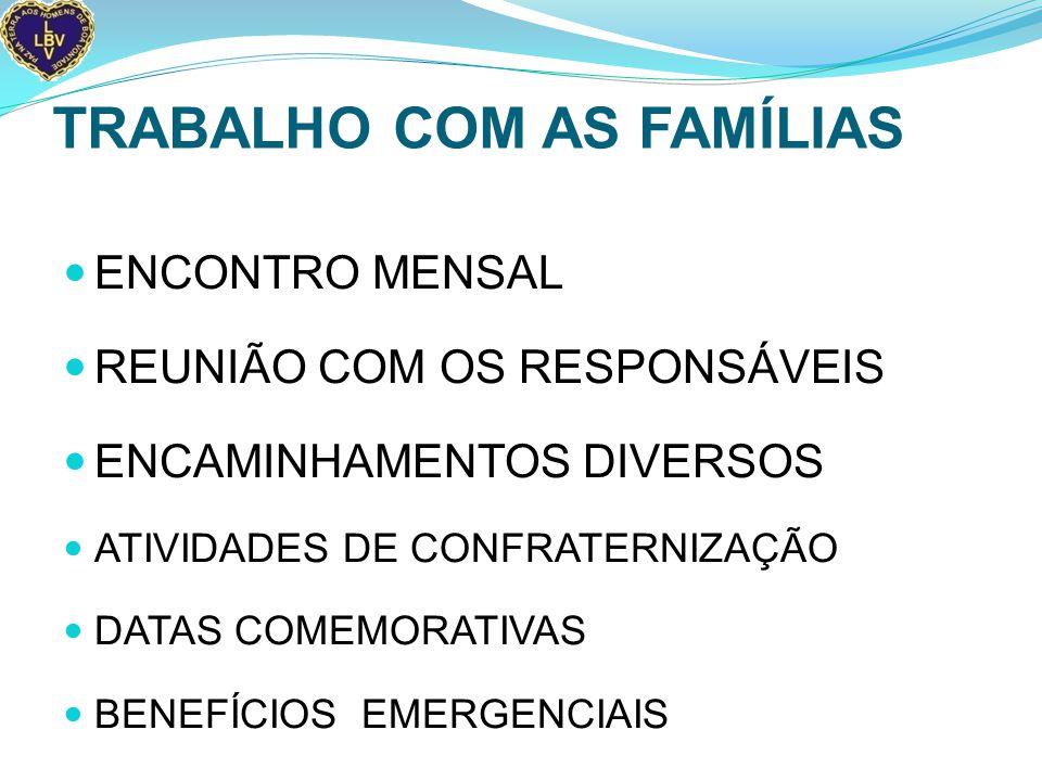 TRABALHO COM AS FAMÍLIAS ENCONTRO MENSAL REUNIÃO COM OS RESPONSÁVEIS ENCAMINHAMENTOS DIVERSOS ATIVIDADES DE CONFRATERNIZAÇÃO DATAS COMEMORATIVAS BENEFÍCIOS EMERGENCIAIS
