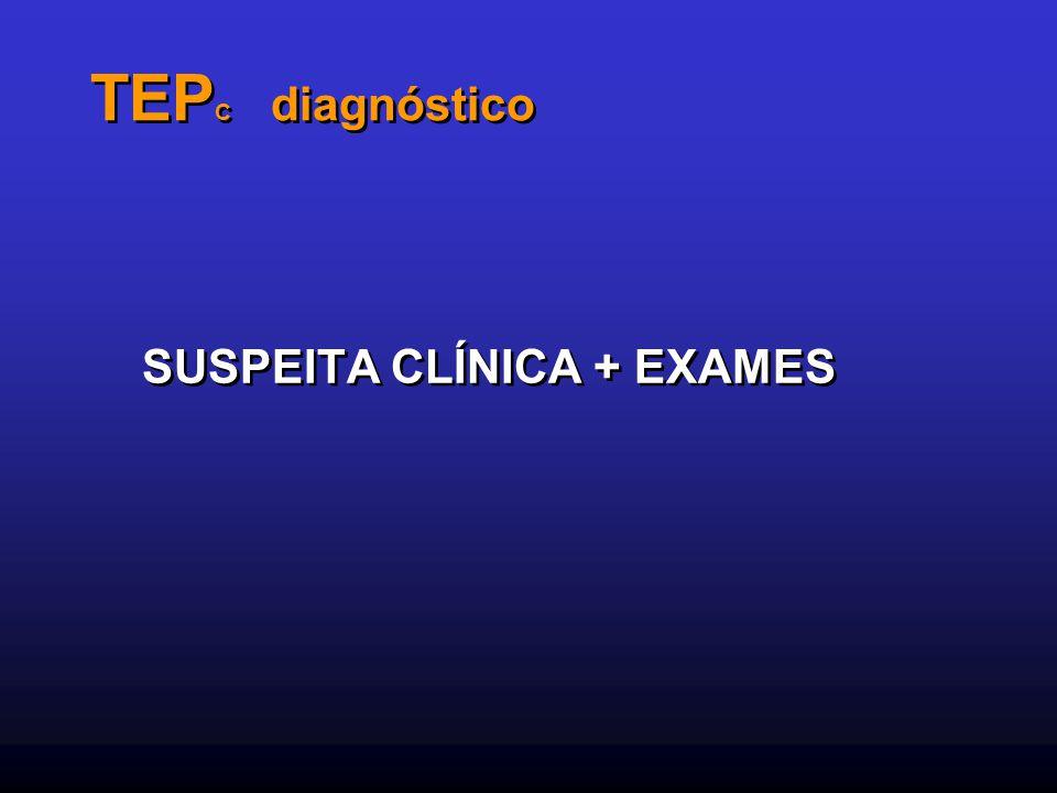 TEP C diagnóstico SUSPEITA CLÍNICA + EXAMES