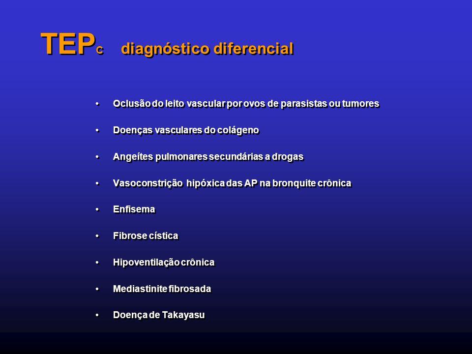 TEP C diagnóstico diferencial Oclusão do leito vascular por ovos de parasistas ou tumores Doenças vasculares do colágeno Angeítes pulmonares secundári