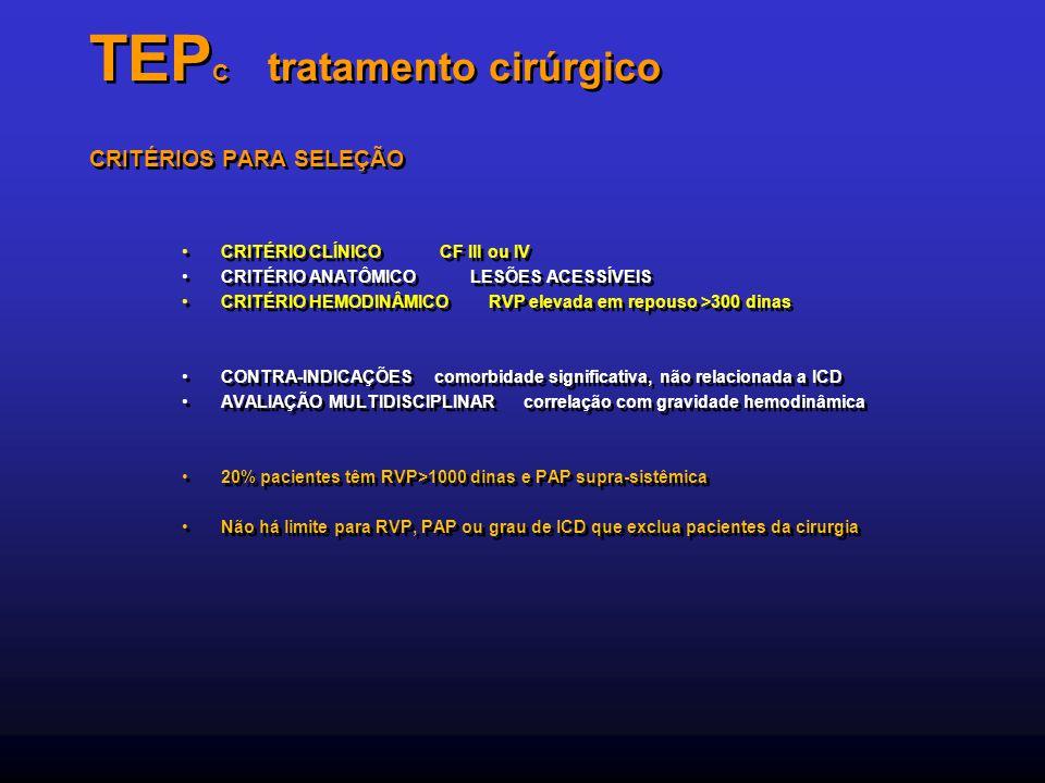 TEP C tratamento cirúrgico CRITÉRIOS PARA SELEÇÃO CRITÉRIO CLÍNICO CF III ou IV CRITÉRIO ANATÔMICO LESÕES ACESSÍVEIS CRITÉRIO HEMODINÂMICO RVP elevada