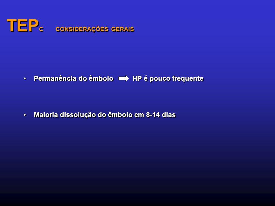 TEP C CONSIDERAÇÕES GERAIS Permanência do êmbolo HP é pouco frequente Maioria dissolução do êmbolo em 8-14 dias Permanência do êmbolo HP é pouco frequ