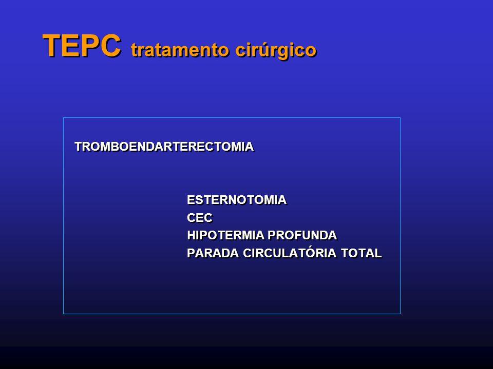TEPC tratamento cirúrgico TROMBOENDARTERECTOMIA ESTERNOTOMIA CEC HIPOTERMIA PROFUNDA PARADA CIRCULATÓRIA TOTAL TROMBOENDARTERECTOMIA ESTERNOTOMIA CEC