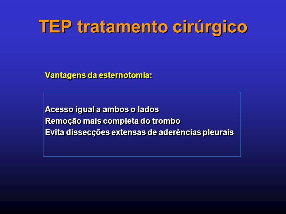 TEP tratamento cirúrgico Vantagens da esternotomia: Acesso igual a ambos o lados Remoção mais completa do trombo Evita dissecções extensas de aderênci