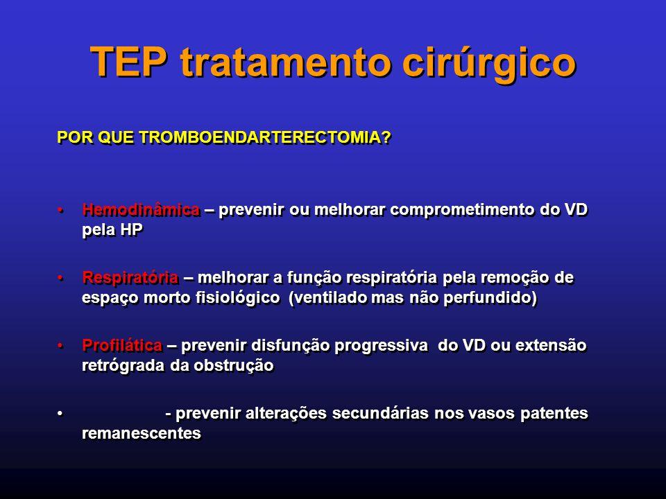 TEP tratamento cirúrgico POR QUE TROMBOENDARTERECTOMIA? Hemodinâmica – prevenir ou melhorar comprometimento do VD pela HP Respiratória – melhorar a fu