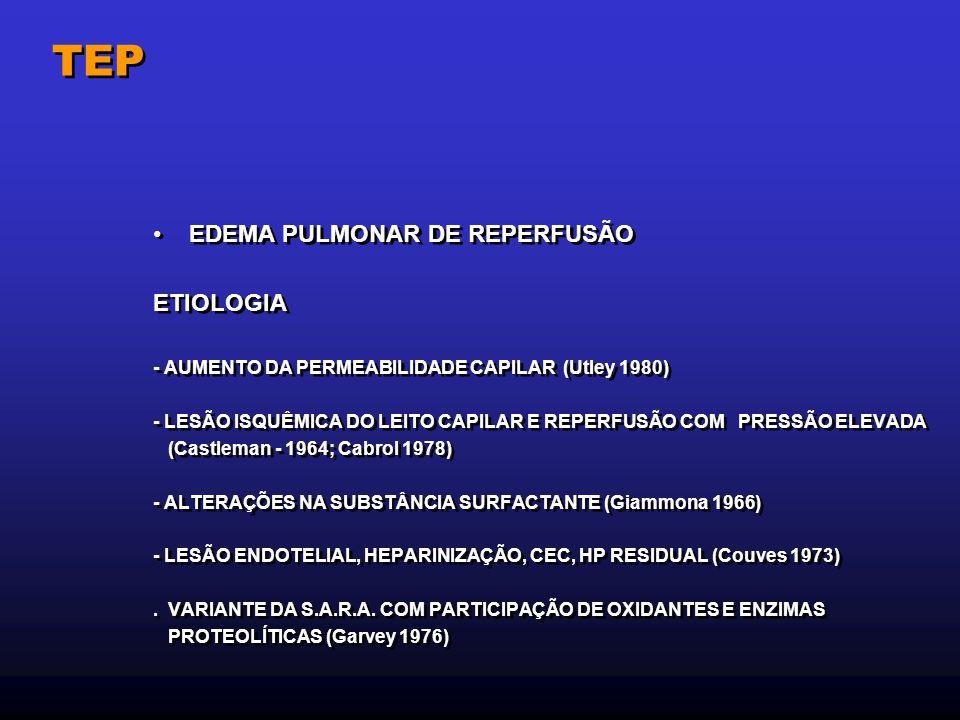 TEP EDEMA PULMONAR DE REPERFUSÃO ETIOLOGIA - AUMENTO DA PERMEABILIDADE CAPILAR (Utley 1980) - LESÃO ISQUÊMICA DO LEITO CAPILAR E REPERFUSÃO COM PRESSÃ