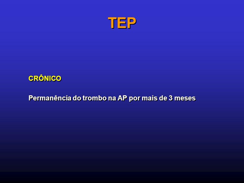 TEP CRÔNICO Permanência do trombo na AP por mais de 3 meses CRÔNICO Permanência do trombo na AP por mais de 3 meses
