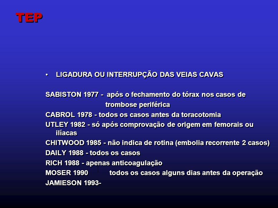 TEP LIGADURA OU INTERRUPÇÃO DAS VEIAS CAVAS SABISTON 1977 - após o fechamento do tórax nos casos de trombose periférica CABROL 1978 - todos os casos a