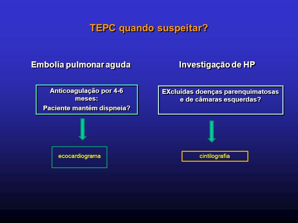 TEPC quando suspeitar? Embolia pulmonar aguda Anticoagulação por 4-6 meses: Paciente mantém dispneia? Investigação de HP EXcluídas doenças parenquimat