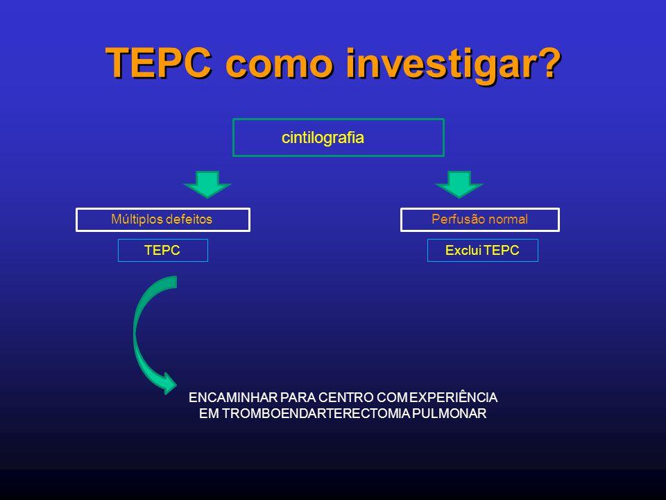 TEPC como investigar? cintilografia Múltiplos defeitos TEPC Perfusão normal Exclui TEPC ENCAMINHAR PARA CENTRO COM EXPERIÊNCIA EM TROMBOENDARTERECTOMI
