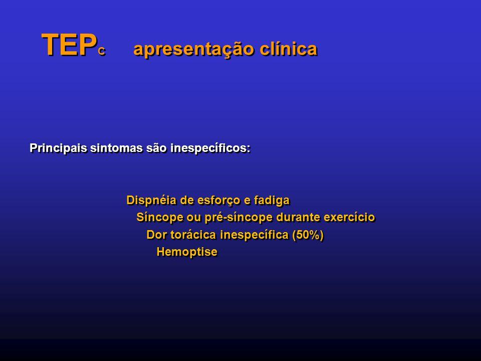 TEP C apresentação clínica Principais sintomas são inespecíficos: Dispnéia de esforço e fadiga Síncope ou pré-síncope durante exercício Dor torácica i