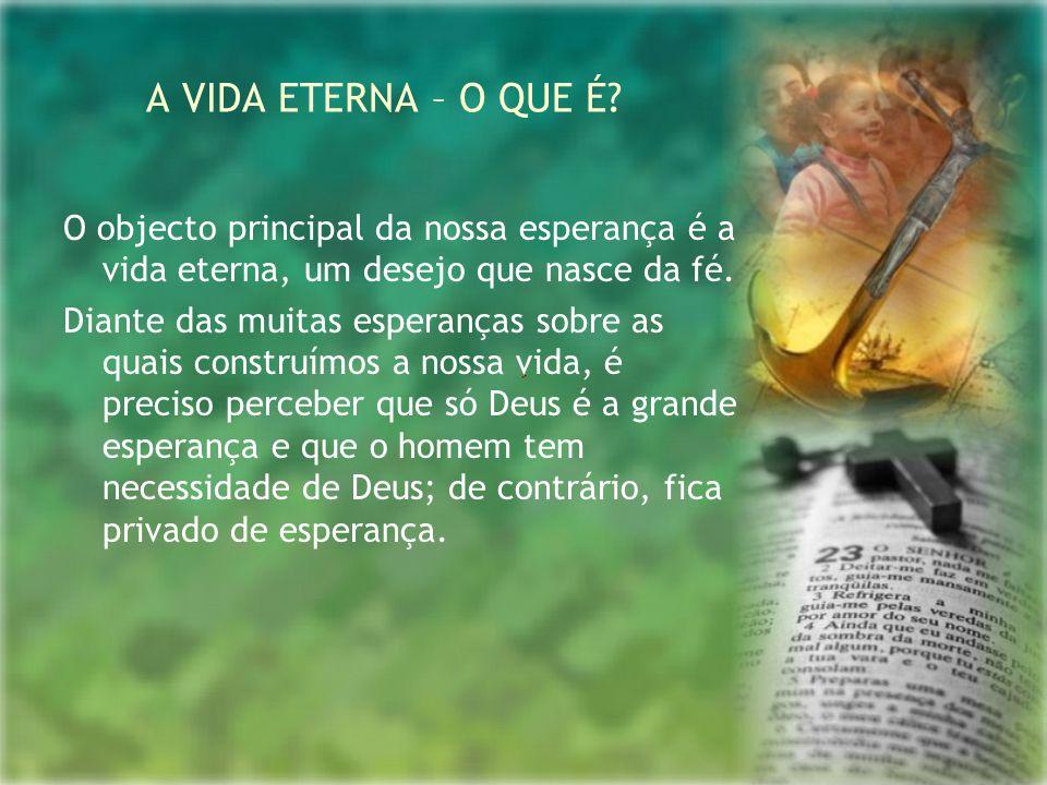 O objecto principal da nossa esperança é a vida eterna, um desejo que nasce da fé. Diante das muitas esperanças sobre as quais construímos a nossa vid