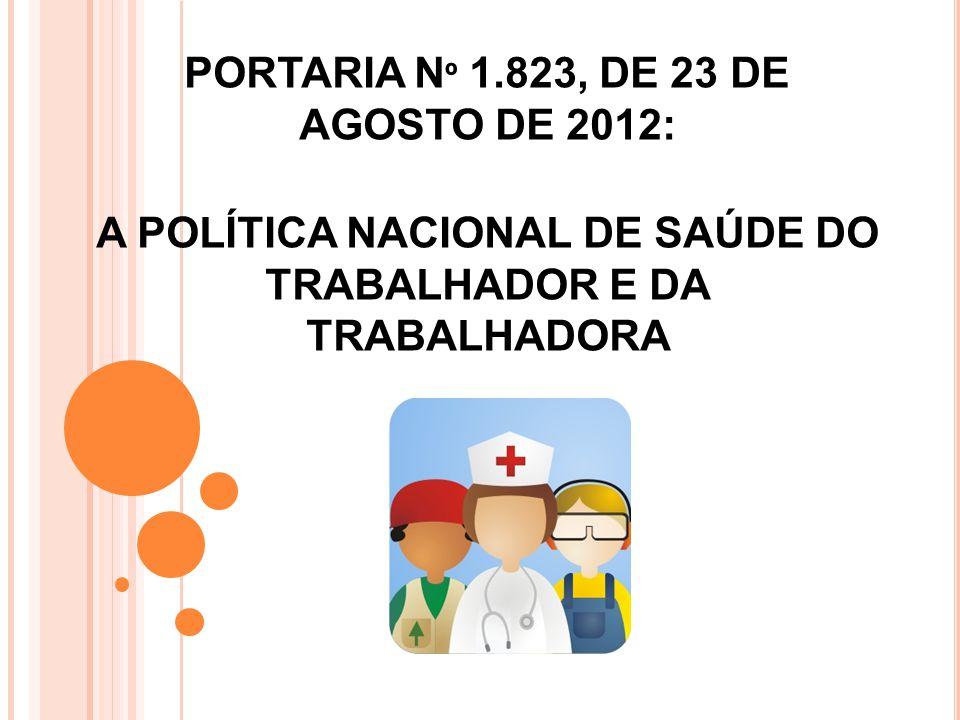 PORTARIA N º 1.823, DE 23 DE AGOSTO DE 2012 PORTARIA N º 1.823, DE 23 DE AGOSTO DE 2012: A POLÍTICA NACIONAL DE SAÚDE DO TRABALHADOR E DA TRABALHADORA